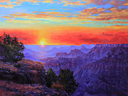 National Painting Posters - Grand Canyon Sunset Poster by Gary Kim