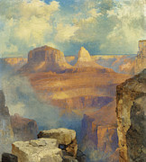 Hudson River School Painting Framed Prints - Grand Canyon Framed Print by Thomas Moran