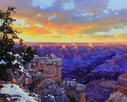 National Painting Posters - Grand Canyon Winter Sunset Poster by Gary Kim