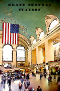 Nyc Digital Art Metal Prints - Grand Central Station Metal Print by Linda  Parker