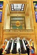 Escalator Framed Prints - Grand Central Terminal Framed Print by June Marie Sobrito