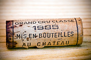 Wine Cellar Photo Prints - Grand Cru Classe Bordeaux Wine Cork Print by Frank Tschakert