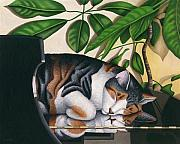 Cat Artwork Framed Prints - Grand Dreams - Cat on Piano Framed Print by Carol Wilson