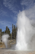 Gushing Water Framed Prints - Grand Geyser Erupting, Upper Geyser Framed Print by Richard Roscoe