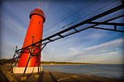 Dramatic Light Posters - Grand Haven Lighthouse Poster by Adam Romanowicz