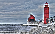 Grand Haven Framed Prints - Grand Haven Lighthouse Framed Print by Jack Schultz