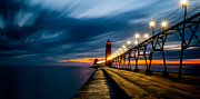 Grand Haven Framed Prints - Grand Haven Lighthouse Framed Print by Larry Carr