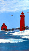 North American Lighthouses - Paintings By Frederic Kohli - Grand Haven Lighthouse Painting by Frederic Kohli