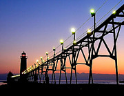 Grand Haven Framed Prints - Grand Haven Night Framed Print by Nick Zelinsky