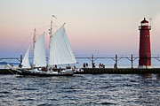 Grand Haven Prints - Grand Haven Sailboat Print by Joe Gee