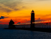 Grand Haven Posters - Grand Haven Sunset Poster by Nick Zelinsky