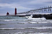 Grand Haven Prints - Grand Haven Surfers Print by Joe Gee