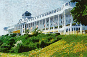 Hotel Digital Art Framed Prints - Grand Hotel Mackinac Island ll Framed Print by Michelle Calkins