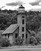 Munising Prints - Grand Island Lighthouse BW Print by Michael Peychich