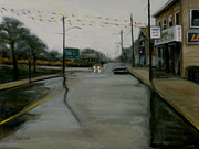 Rainy Street Painting Framed Prints - Grand Opening Framed Print by Sarah Yuster