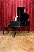 Furnishing Photo Framed Prints - Grand Piano With A Champagne Cooler Framed Print by Corepics
