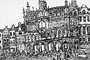 Belgium Drawings - Grand Place Brussels by Katie Jurkiewicz