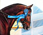 Jumper Painting Framed Prints - Grand Prix Jumper Brave Heart Framed Print by Yvonne Hazelton