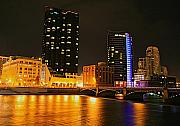 City Scapes Art - Grand Rapids MI under the lights-2 by Robert Pearson