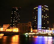 Night Pastels Metal Prints - Grand Rapids MI under the lights-4 Metal Print by Robert Pearson