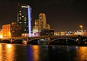 Lake Mixed Media Metal Prints - Grand Rapids MI under the lights Metal Print by Robert Pearson