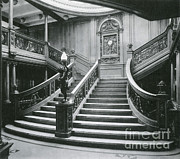 Historic Ship Framed Prints - Grand Staircase Of The Titanic Framed Print by Photo Researchers