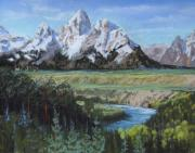 Group Pastels - Grand Teton and Snake River by Heather Coen