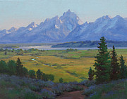 Teton Paintings - Grand Teton in Evening by Marianne  Kuhn