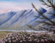Park Scene Paintings - Grand Teton Mountains by Allan Carey