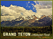 Wyoming Digital Art Framed Prints - Grand Teton National Park Framed Print by Vintage Poster Designs