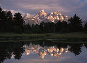 Snow-covered Landscape Prints - Grand Teton Range And Cloudy Sky Print by Tim Fitzharris