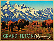 Wyoming Digital Art Framed Prints - Grand Teton Wyoming Buffalo Framed Print by Vintage Poster Designs