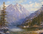 Pine Trees Painting Metal Prints - Grand Tetons and Jenny Lake Tryptych Center Metal Print by Lewis A Ramsey