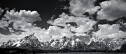 Wyoming Digital Art Framed Prints - Grand Tetons Panorama in Monochrome Framed Print by Ellen Lacey