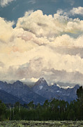 Mix Medium Digital Art Posters - Grand Tetons  Sky Poster by Suzette Kallen