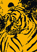 Wild Animal Mixed Media Posters - Grand Tiger Poster by Eakaluk Pataratrivijit