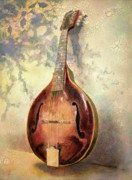 Instruments Paintings - Grandaddys Mandolin by Andrew King