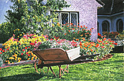 Featured Paintings - Grandads Wheelbarrow by David Lloyd Glover