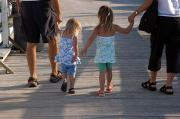 Anna Maria Island Posters - Grandchildren Walk Down A Wooden Pier Poster by Stacy Gold