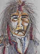 Native American Spirit Portrait Mixed Media Prints - Grandfather  Spirit Print by Nashoba Szabol
