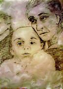 Elderly Drawings - Grandmas Baby by Shelley Bain
