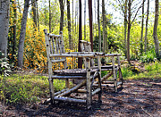 Rocking Chairs Photos - Grandmas Country Chairs by Athena Mckinzie