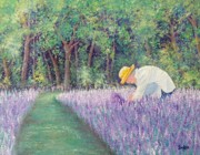 Field Of Flowers Paintings - Grandmas Favorite Scent by Susan DeLain