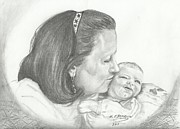 Blanket Drawings Prints - Grandmas First Kiss Print by Susan Bromlow
