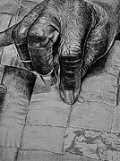 Realism Drawings - Grandmas Hands by Curtis James