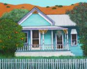 Old Houses Painting Acrylic Prints - Grandmas House  Acrylic Print by Lorraine Klotz