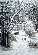 Snow Scene Paintings - Grandmas House by Patti McEntire