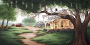 School Houses Paintings - Grandmas House by Ruth Bares