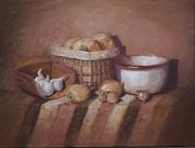 Wooden Bowl Paintings - Grandmas Kitchen by Diana Cox
