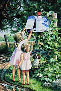 Children Action Paintings - Grandmas Letter by Hanne Lore Koehler